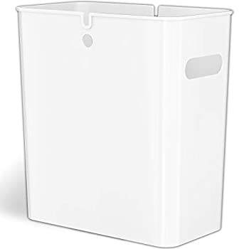 iTouchless SlimGiant 4.2 Gallon Slim Trash Can with Handles 16 Liter Plastic Small Wastebasket Hanging Garbage Bin Magazine / File Folder Storage Container for Home Office Bathroom Kitchen White