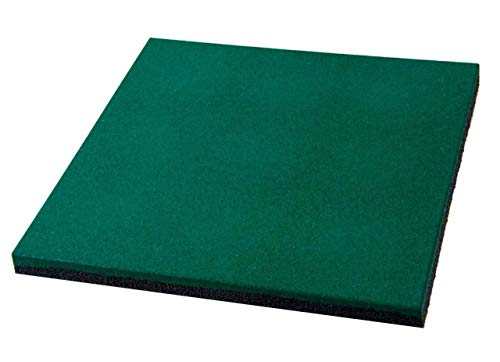 Mugar Tapis en caoutchouc pour gymnastique et crossfit de 50 x 50 ou de 100 x 100 cm Noir/vert/rouge professionnel (Vert, 50 x 50 x 2 cm)
