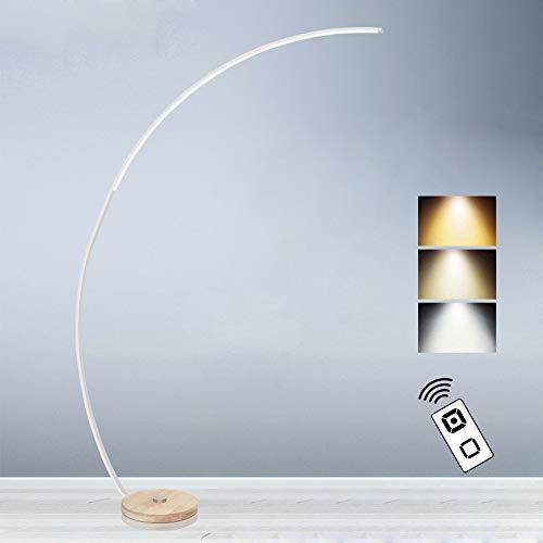 Moderne Bogenleuchte Stehlampe mit Fernbedienung, Bogenlampe LED Dimmbar, Stehleuchte mit Holzfuß für Wohnzimmer Büro, Energieeffizienten 18 W, Höhe 170 cm, Weiß