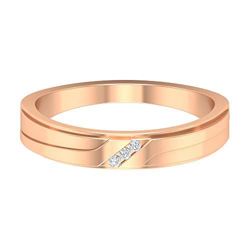 ¿Joyas Rosec? Anillo de boda grabado con diamante HI-SI, 14K Oro rosa, Size:EU 56