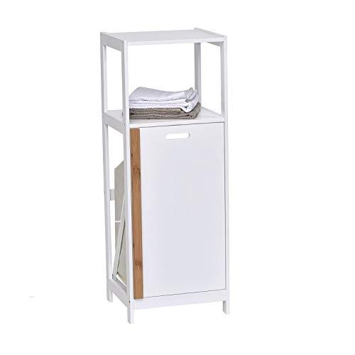 Tendance - Cesta para ropa sucia, color blanco y madera de bambú, color blanco