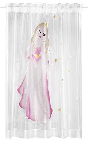 Clever-Kauf-24 Fertigschal Fee | BxH 140x160cm | Vorhang mit verdeckten Schlaufen | fürs Kinderzimmer | Gardine mit Motiv | Dekoschal transparent