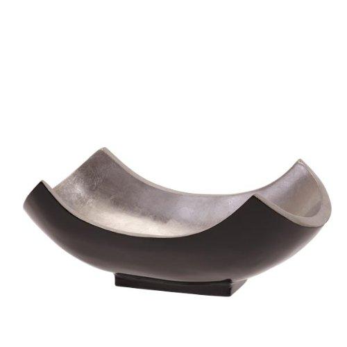 Bol en bois de manguier laqué grand modèle/argent-courbé