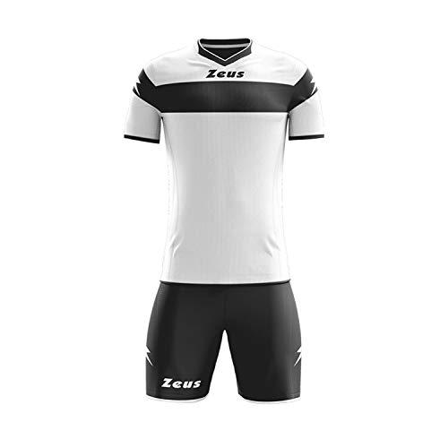 Zeus Apollo Blu-Royal Ensemble / Tenue de Football, tenue de sport pour école et tournoi, Blanc/noir, XXXS