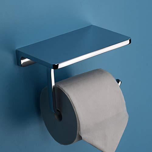 Toiletpapierhouder, volledig messing, voor de badkamer, papierrek en rek, voor de badkamer, mobiele telefoon, handdoekhouder, toiletpapier box tissuebox. zilver