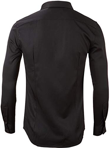 Mens Fiber Casual Button Up Slim Fit Collared Formal Shirts, Black, 16.5″Neck 35″Sleeve