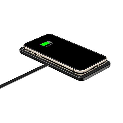 Romdink C1 Auto-Ladegerät, Qi Wireless Charger Anti-Rutsch-Auto Wireless Charging Pad 10w Fast Phone Charger (Black)