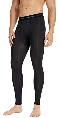 COOLOMG Compression Pants Running Tights Length Pants Leggings Quick Dry for Men Youth Boy Black L