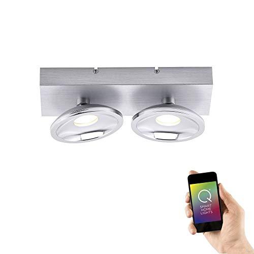 Paul Neuhaus 6464-95 Q-Julian LED Deckenleuchte 2-flammige Strahlerleiste Smart Home Alexa fähig, RGBW Farbwechsel inkl. FB