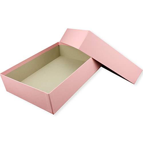 Hochwertige Aufbewahrungs- und Geschenkboxen - 1 Stück - DIN A4 - Rosa bezogen - 302 x 213 x 70 mm