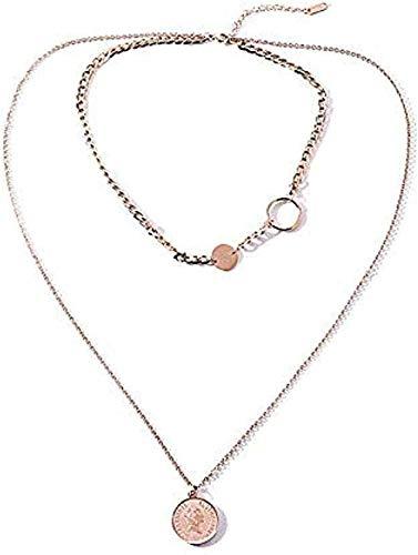 Yiffshunl Collar Moda Doble Capa Titanio Acero Oro Rosa Salvaje Clogbone Cadena Femenina 36/62 + 6 cm Amor