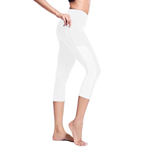 iYmitz Damen Yoga Hose Sports Elastizität Schweiß und Schnelltrocknend Verkürzte Leggings aus Hochwertigen(Weiß,L)