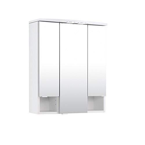 Held Möbel 180.0001 Neapel Spiegelschrank , 3 türig / 4 Glas-Einlegeböden / Beleuchtung / 60 x 71 x 20 cm / weiß