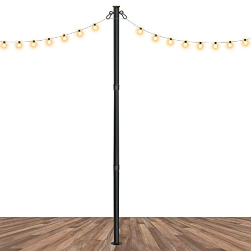 Slsy Outdoor String Light Pole Stand 8 FT, Awning Canopy Support Pole for Concrete Deck, Backyard Outdoor Shade Sail or Lights Stand Pole Mount to Wood Deck, Concrete, Patio.