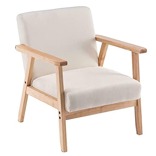 HUIJK Accent Chairs Solid Wood Legs Lounge Leisure Armchair Bedroom Living Room (Color : Beige)