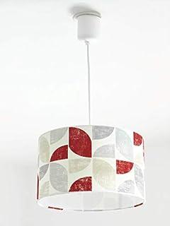 Lustre suspension plafonnier abat-jour motif géométrique rétro vintage rouge gris Luminaire diamètre personnalisé cylindre...