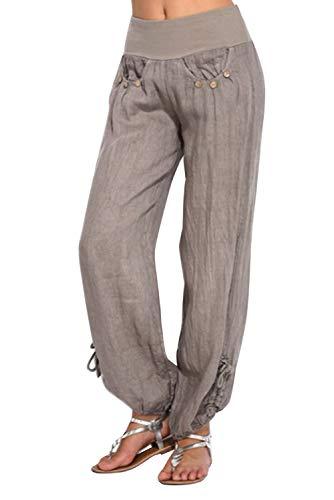 Landove Pantalon Lin Femme été pour Yoga Sport Jogging Pyjama Pantalon Taille Haute Large Palazzo Pantalons Bouffant Amples Grande Taille Solide Casual Baggy Harem Pants Trousers Survetement Fitness