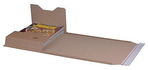 KK Verpackungen® Höhenvariable Versandverpackung für Büchersendungen   25 Stück, DIN C4+, 335x275x80mm   Buchverpackung, Wickelverpackung mit Selbstklebeverschluss & Aufreißfaden