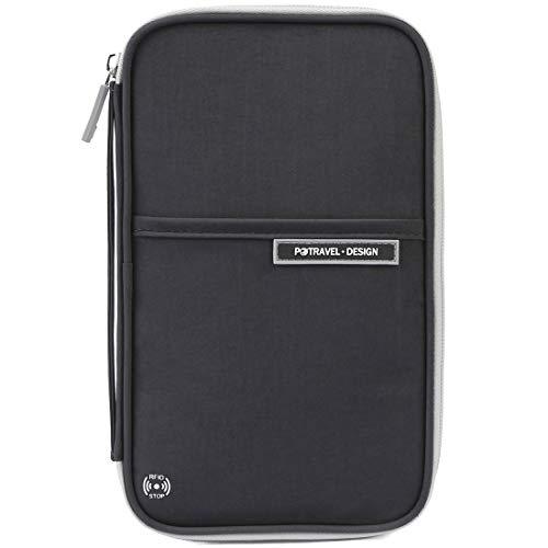 VanFn Passport Wallets, Travel Wallet, RFID Family Passport Holder, Trip Document Organizer (Black)