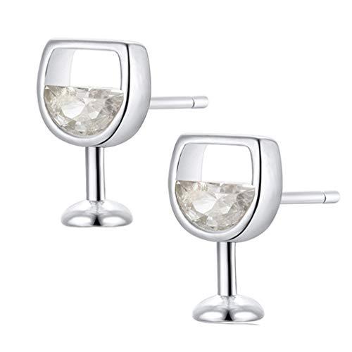 jieGorge Zircon Wine Glass Earrings Female Creative Diamond Drink Cup Earrings , Earrings , Products for Xmas Day (Silver)