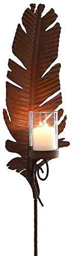 linoows Gartenstecker Feder mit Kerzenhalter, Windlicht Garten Stecker, Garten Teelicht