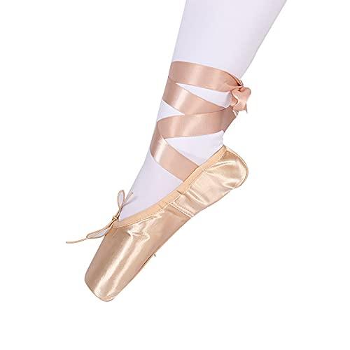 Baletki Różowe Profesjonalne Buty Do Tańca Z Przeszytymi Wstążkami, Odpowiednie Dla Pań (Color : Gold, Rozmiar : 43)