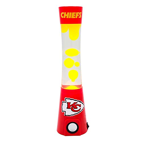"""Sporticulture 2-in-1 NFL Team Magma Lamp with Built-in Bluetooth Speaker - 16.5"""" NFL Team Magma Lamp with Standard Outlet Connection and 30-Watt Bulb (Included) - Kansas City Chiefs"""
