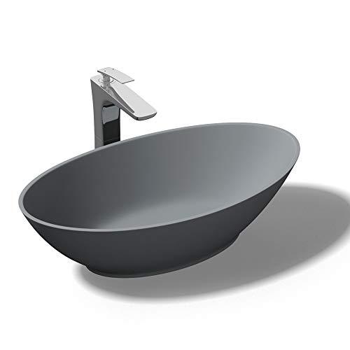 doporro Aufsatzwaschbecken Colossum807, BTH: 62,5x34,5x17,5 cm Design Waschbecken aus Gussmarmor, in anthrazit matt, Waschbecken