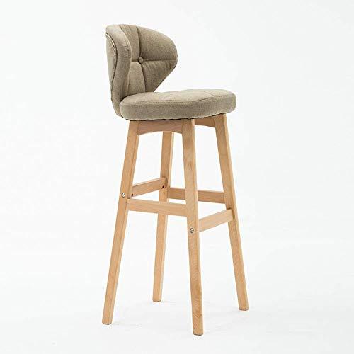 TT&D AGLZWY barkruk, werkstoel met rugleuning en voetenbankje, massief houten bekleding, voor keuken-eiland, bistro-eetkamer, kleur: blauw, afmetingen: 40 x 37 x 78 cm 40x37x68cm Gtaglzwx6142r-9