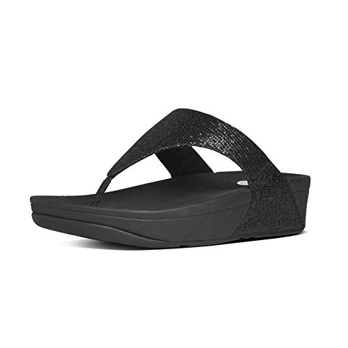 Fitflop Women's Lulu Superglitz Textile Sandal,Black,8 M US