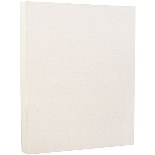 JAM PAPER Strathmore 88lb Cardstock - 8.5 x 11 Coverstock - 237 gsm - Natural White Laid - 25% cotton - 50 Sheets/Pack