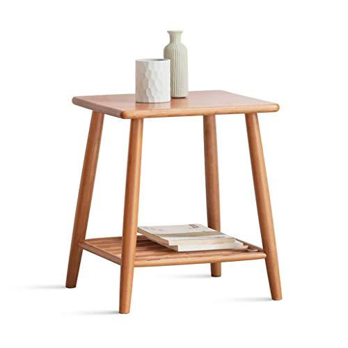 LYN eindtafel, bank bijzettafel, eindtafel massief hout bijzettafel Scandinavische salontafel met opbergruimte bank hoektafels kersenhout nachtkastje
