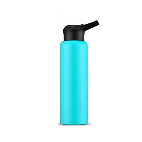 shenlanyu Botella de agua aislada 304 de acero inoxidable termo taza con asa tapa para bicicleta, termo de 750 ml, aislante para deportes y exteriores, botella de agua térmica 750 ml, color azul cielo