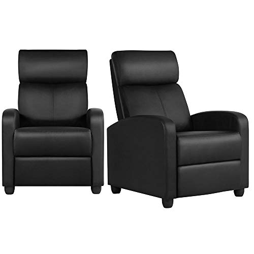 YAHEETECH 2-Seat Reclining Chair Leather Home Theater Seating Recliner Sofa Modern Chaise Couch Lounger Sofa