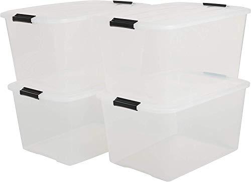 IRIS, 4er-Set stapelbare Aufbewahrungsboxen \'Top Box\', mit Deckel und Klickverschluss, 45 Liter, Kunststoff / Plastik, transparent, 39 x 57,5 x 30 cm