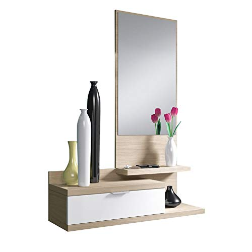 Habitdesign 016744W - Recibidor de un cajón y Espejo, Color Blanco Brillo y Nature, Dimensiones 116 x 81 x 29cm de...