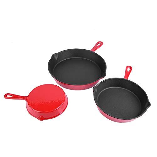 Grillpfanne mit griff, Rot Gusseisen-Pfanne Bratpfanne Gusseisenpfanne zum Braten, Backen, Grillen und Schmoren, 3pcs/set