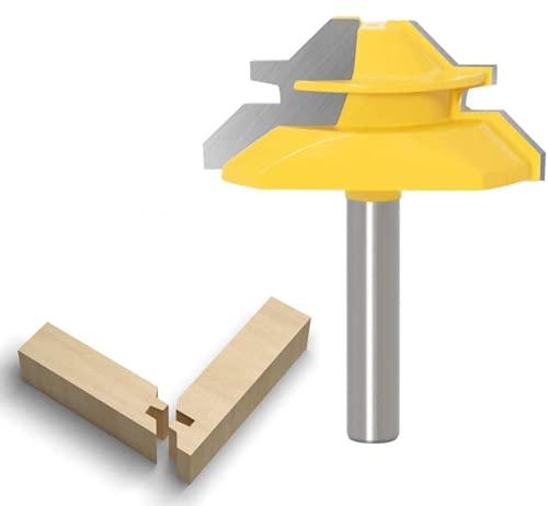 APlus Verleimfräser Gehrung Verleimfräser Oberfräse 45 Grad Lock Miter Router Bit Holzbearbeitung Fräser Schneidwerkzeug für Graviermaschine Trimmmaschine (Schaft 8mm