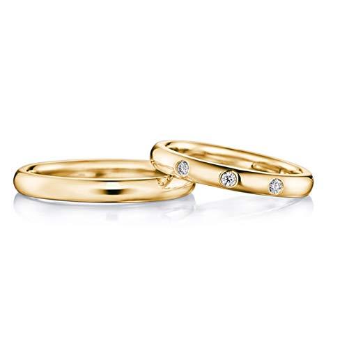 AmDxD 2Pcs Anillos de Compromiso Oro Amarillo 18K Redondo Pulido Diamante 0.05ct Anillos de Matrimonio Pareja Oro Anillo Solitario Mujer Talla 11 & Hombre Talla 17