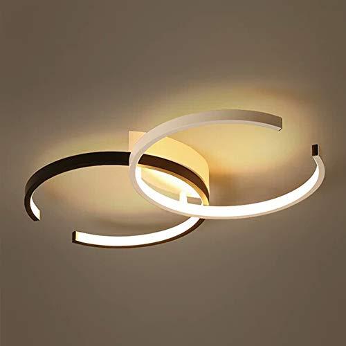 LED Plafond Licht, Dimbaar Met Afstandsbediening Indoor Ceiling Lamp Armatuur Voor Slaapkamer Woonkamer Keuken Eetkamer Creative 2 Ring Double C Shape Design Verlichting Traploos Dimmen