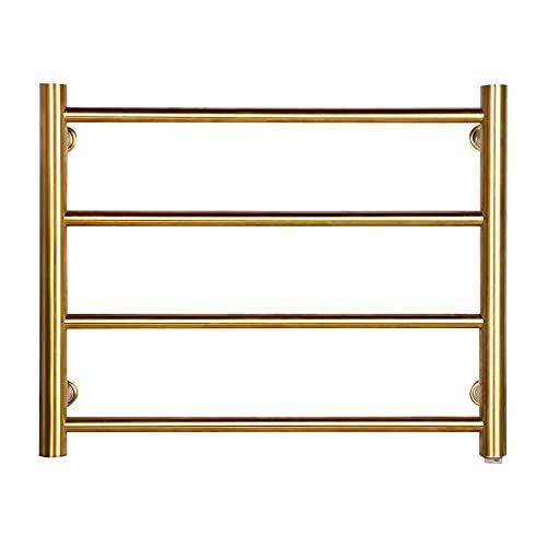 Calentador de toallas, toallero eléctrico dorado con 4 barras redondas Barra de...