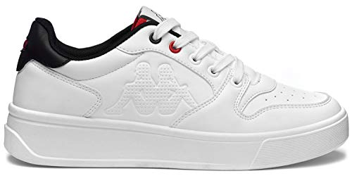 Kappa Scarpe Uomo Sportive Ginnastica Basse Sneakers Logo LIZZER (White - Black, Numeric_42)