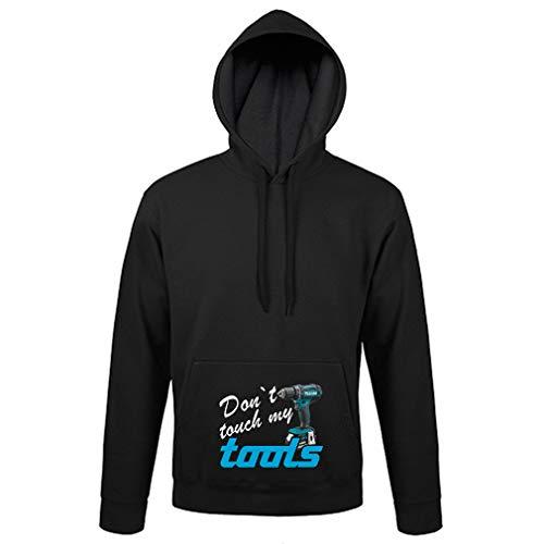 """SHIRT-TO-GO schwarzer Hoody Pullover Hoddie Kapuzen Sweatshirt mit Aufdruck """"Dont Touch My Tools"""" als Geschenkidee für Heimwerker und Bauarbeiter"""