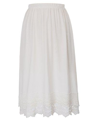 Rockabilly Dress Extender with Elastic Waistband(XL, White)