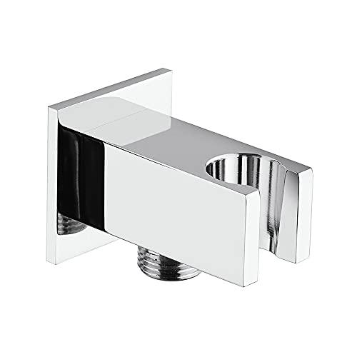 """Presa acqua doccia in ottone con supporto per doccino, attacchi universali G ½"""", COMPLETA di rosone"""