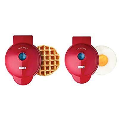 Dash DMSW002RD Mini Maker Grill, Griddle + Waffle Iron, 2 pack, Red