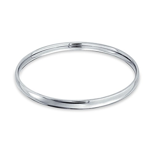 Bling Jewelry Kuppeln Stapelbar 5Mm Runde Glatt Poliert Armreif Armbänder Silber Ton Edelstahl Für Frauen 8,5 Zoll
