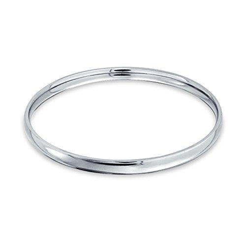 Bling Jewelry Gewölbte Stapelbar 5MM Runde Glatt Polierte Armreif Edelstahl Für Damen 8.5-Zoll