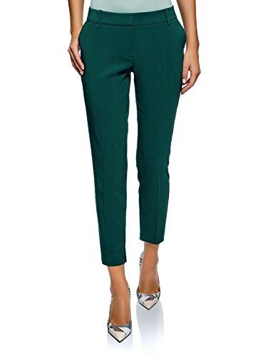 oodji Collection Damen Hose Basic mit Bügelfalten, Grün, DE 42 / EU 44 / XL