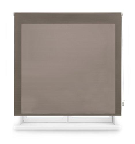 Blindecor Ara - Estor enrollable translúcido liso, Marrón, 140 x 175 cm (ancho x alto)